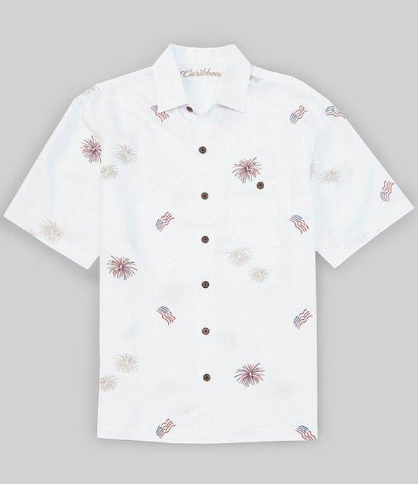 カリビアン メンズ シャツ トップス All Over Fireworks Short-Sleeve Woven Shirt White
