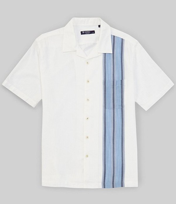 ダニエル クレミュ メンズ シャツ トップス Vertical Stripe Short-Sleeve Woven Camp Shirt Winter White