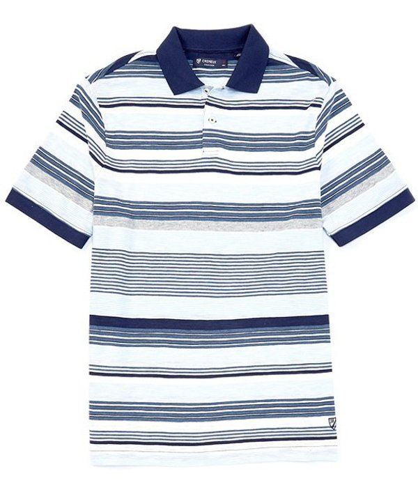 ダニエル クレミュ メンズ シャツ トップス Slub Stripe Short-Sleeve Polo Shirt Peacoat Blue