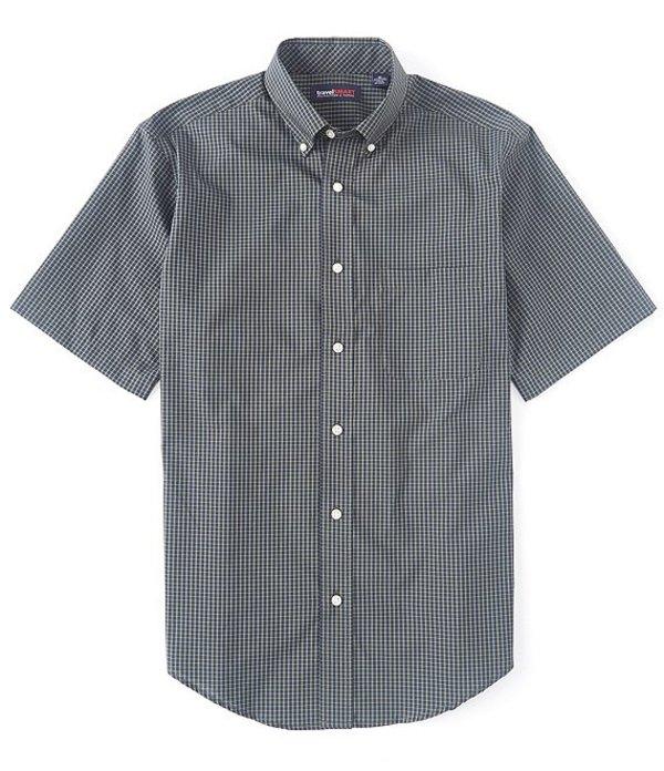 ラウンドトゥリーアンドヨーク メンズ シャツ トップス TravelSmart Short-Sleeve Checked Sportshirt Leaf Green