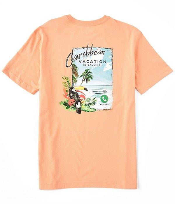 カリビアン メンズ シャツ トップス Big & Tall Calling Me Short-Sleeve Graphic Tee Soft Orange