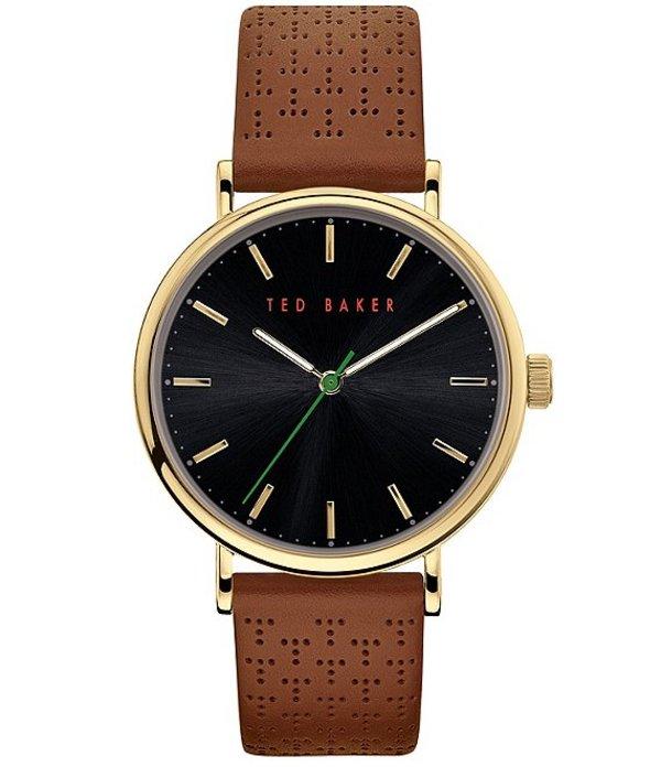 テッドベーカー レディース 腕時計 アクセサリー Mimosaa Tan Perforated Leather Three-Hand Watch Tan
