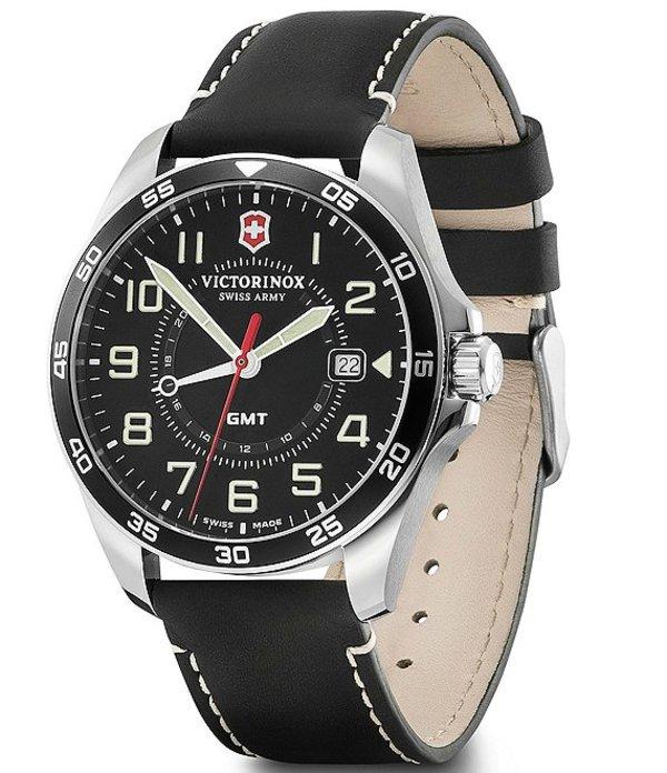 ビクトリノックス メンズ 腕時計 アクセサリー Field Force Black Leather Strap Multifunction Watch Black