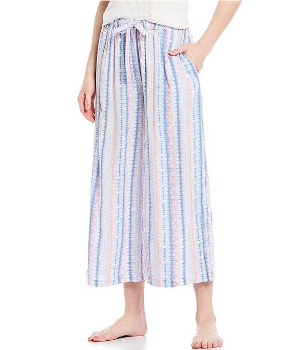 ジャスミンアンド ジンジャー レディース カジュアルパンツ ボトムス Striped Print Wide-Leg Cropped Woven Sleep Pants Whiteness