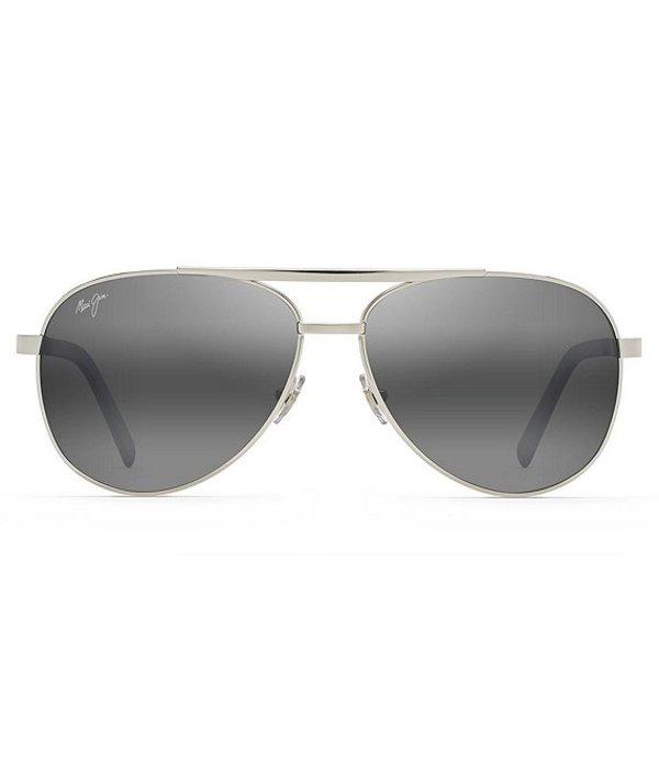 マウイジム メンズ サングラス・アイウェア アクセサリー Seacliff PolarizedPlus2R Aviator 54mm Sunglasses Silver