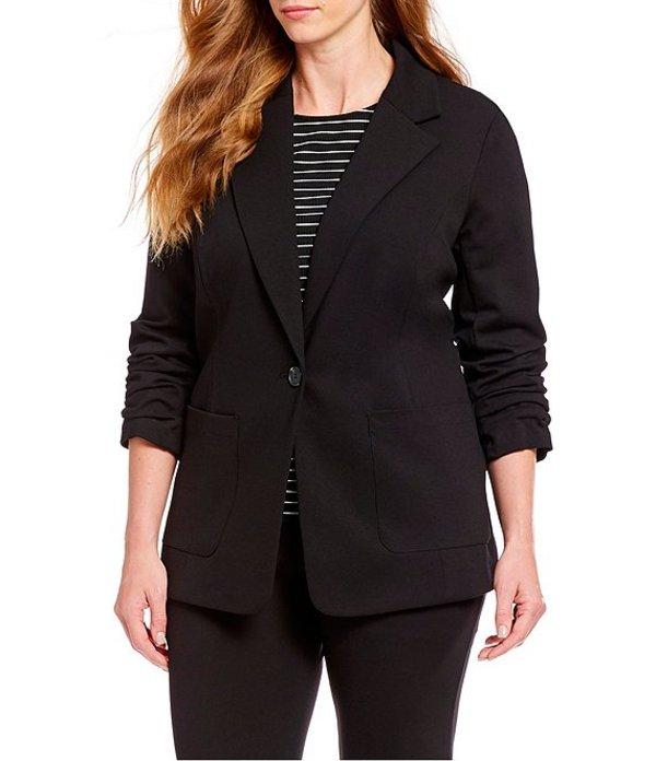 ヴィンスカムート レディース ジャケット・ブルゾン アウター Plus Size Ruched Sleeve Blazer Rich Black