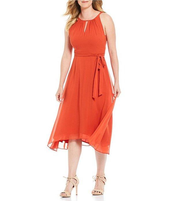 タハリエーエスエル レディース ワンピース トップス Petite Size Chiffon Halter Keyhole Neck Sleeveless Midi Dress Spicy Orange