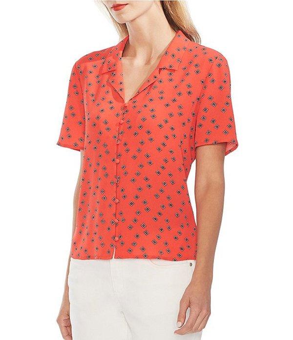 ヴィンスカムート レディース シャツ トップス Short Sleeve Notched Collar Button Down Foulard Print Top Crimson Red