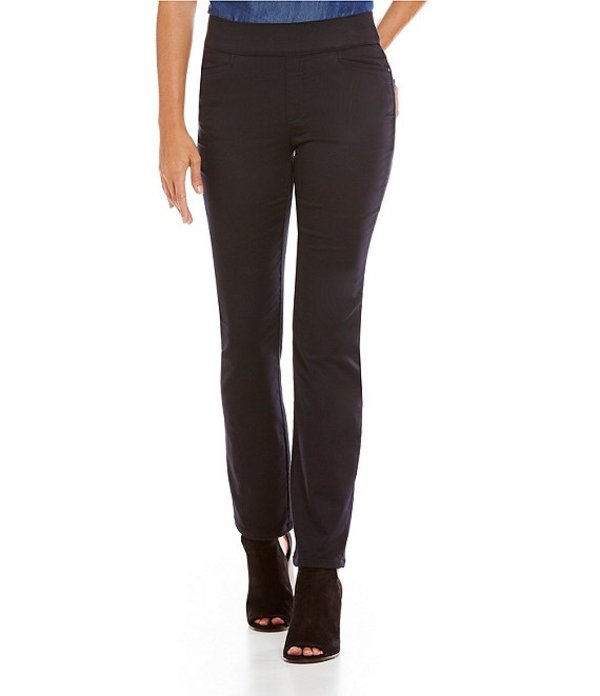 イントロ レディース カジュアルパンツ ボトムス Petite Sheri Solid Pull-On Straight-Leg Pintuck Pant Ebony Black