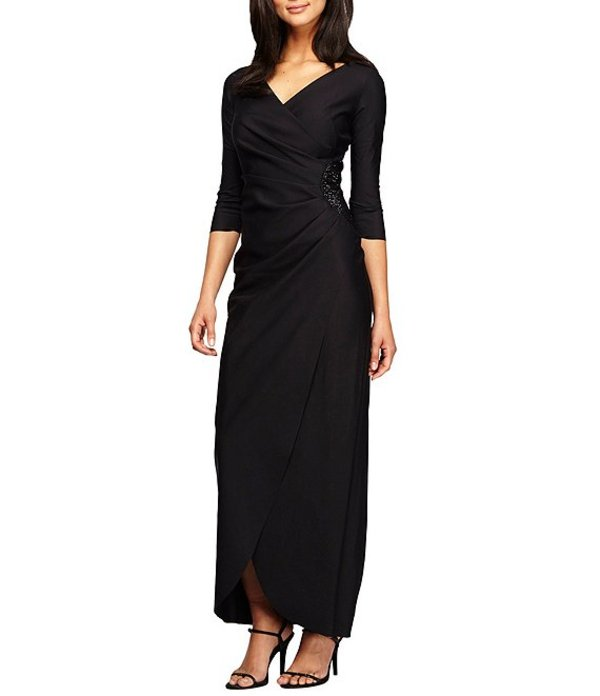 アレックスイブニングス レディース ワンピース トップス Surplice V-Neck Bead Trim Ruched Dress Black