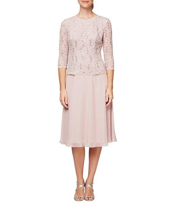 アレックスイブニングス レディース ワンピース トップス Mock 2-Piece Lace Tea-Length A-Line Dress Shell Pink