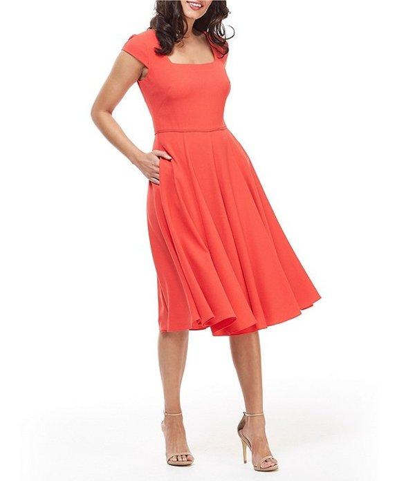 ギャルミーツグラム レディース ワンピース トップス Regina Square Neck Crepe Midi Dress Venetian Red