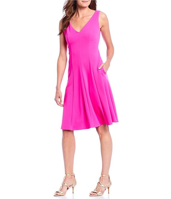 ドナモーガン レディース ワンピース トップス V-Neck Crepe Sleeveless A-Line Dress Electric Pink