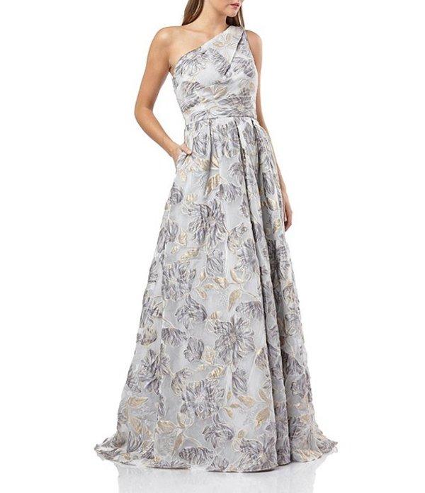カルメンマークヴァルヴォ レディース ワンピース トップス One Shoulder Floral Embroidery Organza Ballgown Silver/Gold