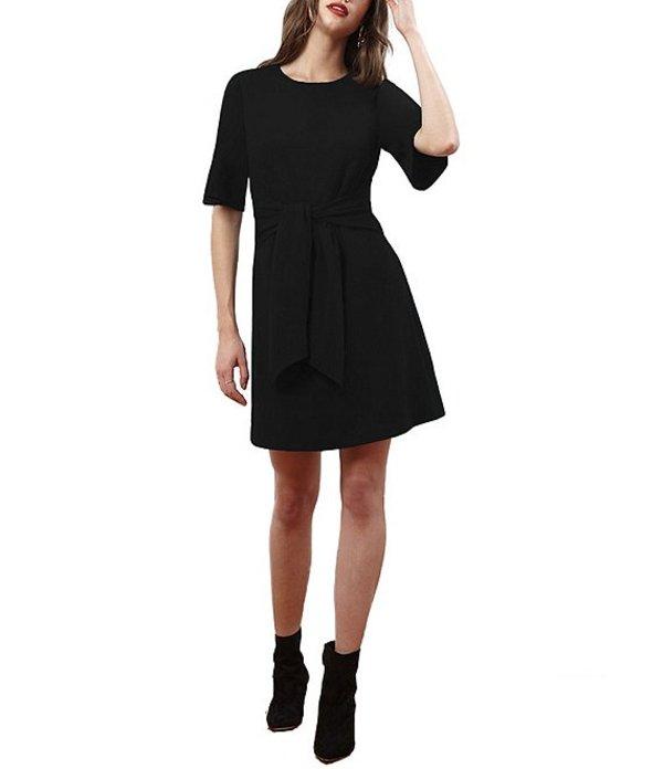 ドナモーガン レディース ワンピース トップス Tie Waist Flutter Sleeve Stretch Crepe A-Line Dress Black