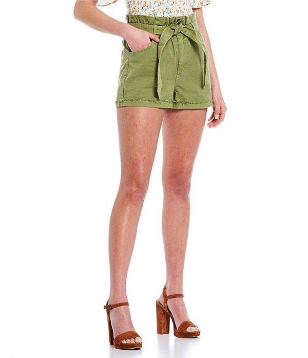 チェルシーアンドバイオレット レディース ハーフパンツ・ショーツ ボトムス Ruffled Paperbag Belted Waist Raw Cuffed Hem Self-Tie Shorts Light Sage