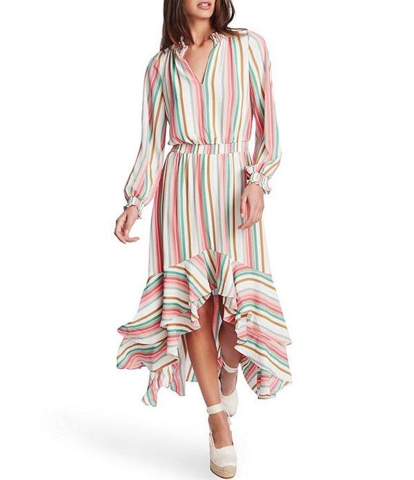 ワンステート レディース ワンピース トップス Multi Striped Ruffle Hi-Low Dress Cherry Blossom