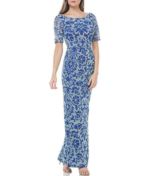 ジェイエスコレクションズ レディース ワンピース トップス Illusion Sleeve Mesh Column Gown Navy/Mint
