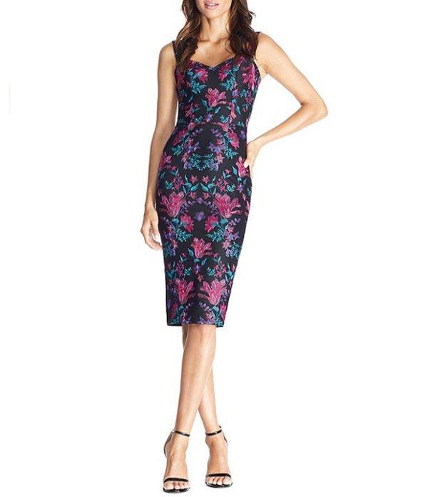 ドレスザポプレーション レディース ワンピース トップス Jaida Sweetheart Neck Sleeveless Floral Embroidered Sheath Midi Dress Black Multi
