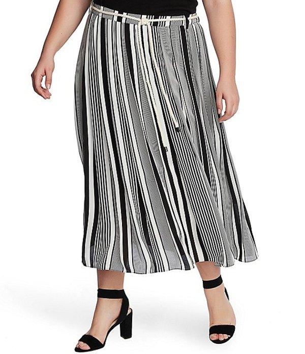 ヴィンスカムート レディース カジュアルパンツ ボトムス Plus Size Striped Belted Midi Skirt Rich Black