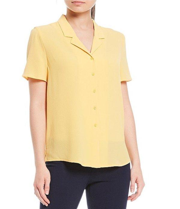インベストメンツ レディース シャツ トップス Short Sleeve Notch Collar Top Golden Yellow