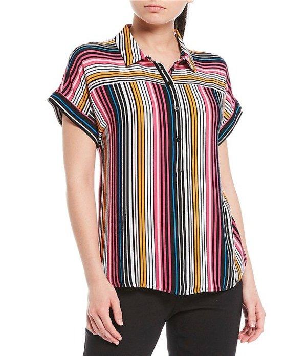 インベストメンツ レディース シャツ トップス Short Sleeve Multi Stripe Popover Top Multi Stripe