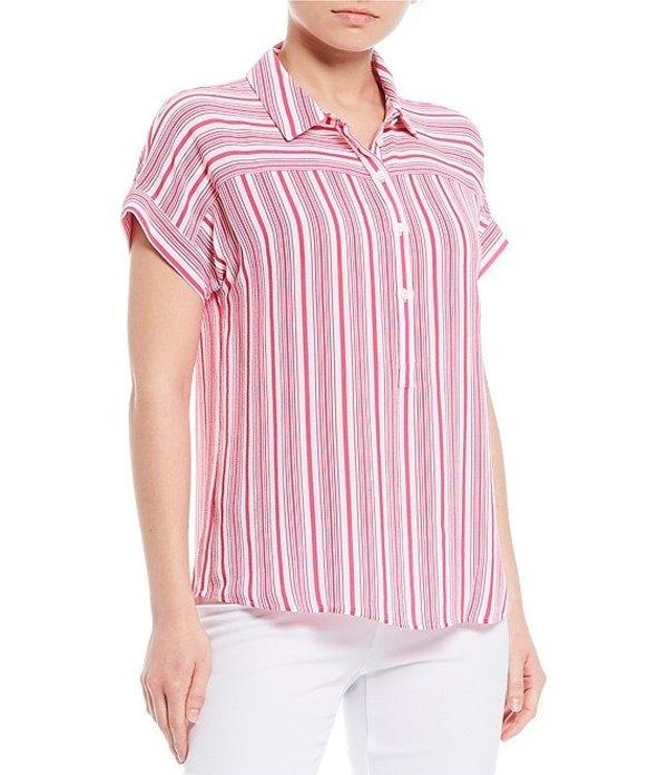 インベストメンツ レディース シャツ トップス Short Sleeve Point Collar Stripe Popover Top Pink Stripe