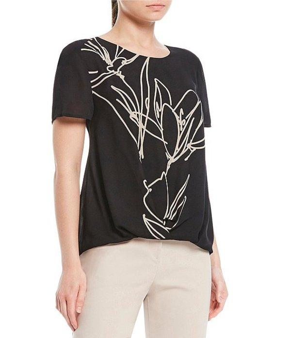 インベストメンツ レディース シャツ トップス Short Sleeve Jewel Neck Floral Crossover Top Black Floral