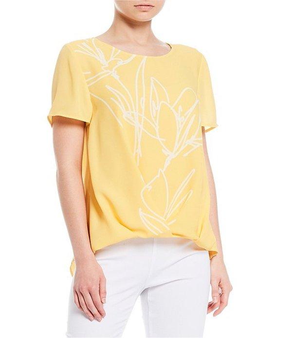 インベストメンツ レディース シャツ トップス Short Sleeve Jewel Neck Floral Crossover Top Golden Yellow Floral