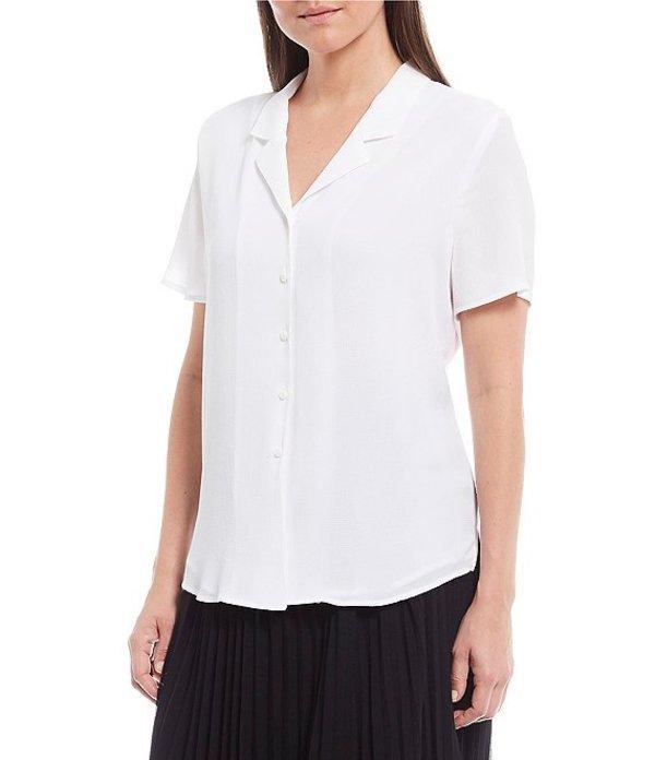 インベストメンツ レディース シャツ トップス Petite Size Short Sleeve Notch Collar Top White