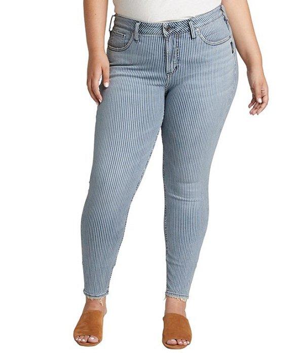 シルバー ジーンズ レディース デニムパンツ ボトムス Plus Size Pinstripe Avery High Rise Skinny Jeans Indigo