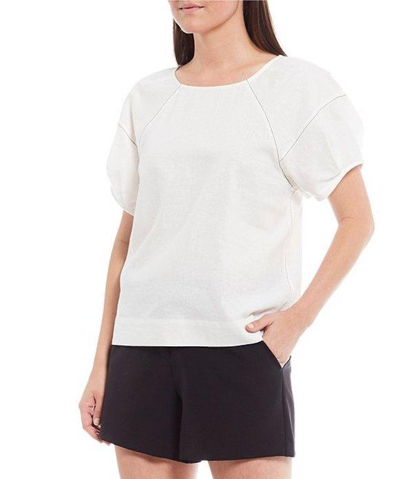 ギブソンアンドラティマー レディース シャツ トップス Contrast Top-Stitched Round Neck Top Off White