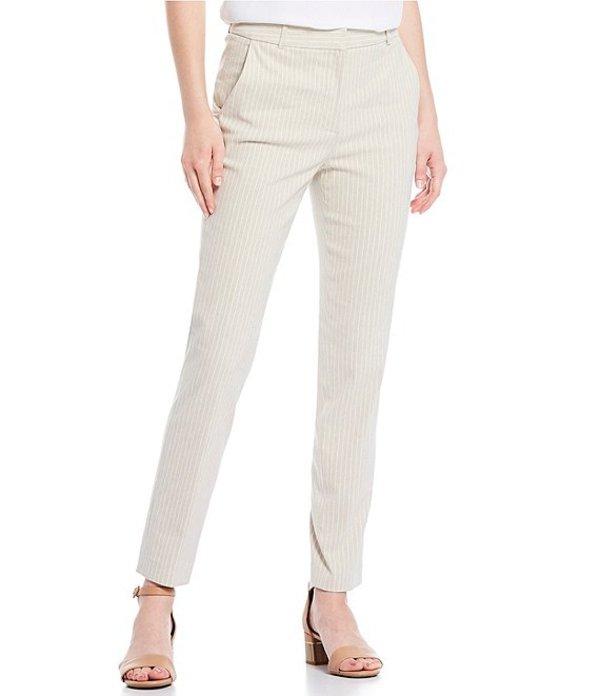 アレックスマリー レディース カジュアルパンツ ボトムス Linen Hilda Stripe Print Straight-Leg Pant Khaki/Ivory