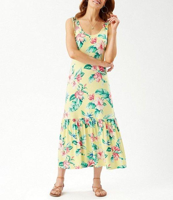 トッミーバハマ レディース ワンピース トップス Floristic Printed Knit Midi Dress Lilikoi Yellow
