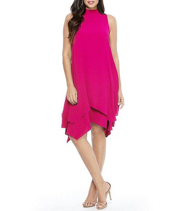 ロンドンタイムス レディース ワンピース トップス Mock Neck Asymmetrical Double Layer Hem Crepe Dress Pink