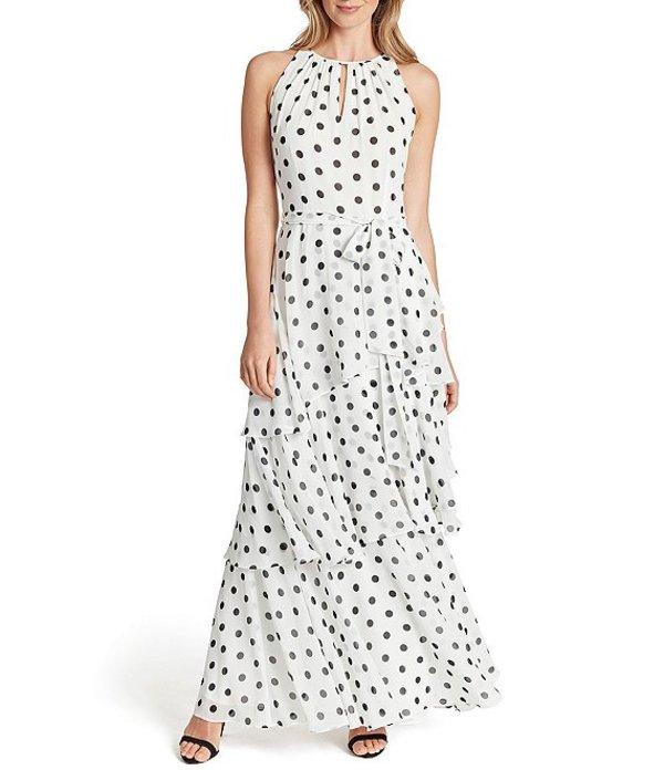 タハリエーエスエル レディース ワンピース トップス Petite Size Keyhole Neck Dot Chiffon Tiered Gown White/Black