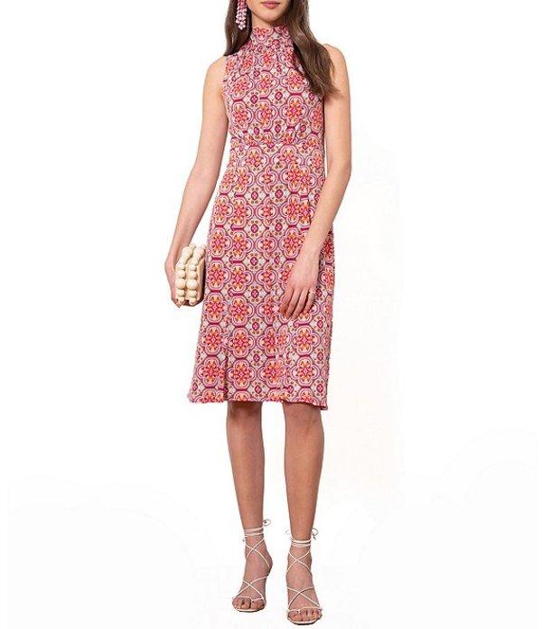 ドナモーガン レディース ワンピース トップス Tie Back Halter Printed Jersey Shift Dress Magenta