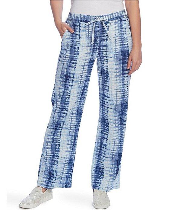 ヴィンスカムート レディース カジュアルパンツ ボトムス Drawstring Waist Tie-Dye Linen Blend Pant Blue Cloud