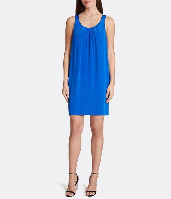 タハリエーエスエル レディース ワンピース トップス Crepe De Chine Scoop Neck Shift Dress Cobalt