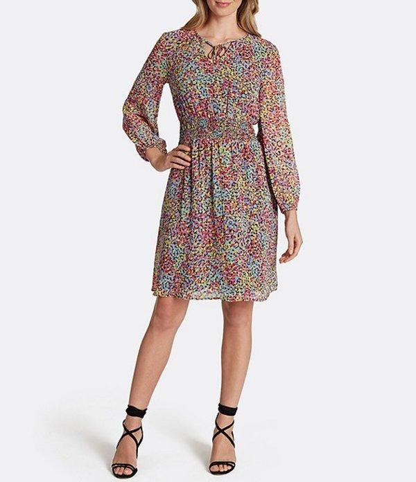 タハリエーエスエル レディース ワンピース トップス Dot Print Chiffon Smocked Waist Dress Black Dot