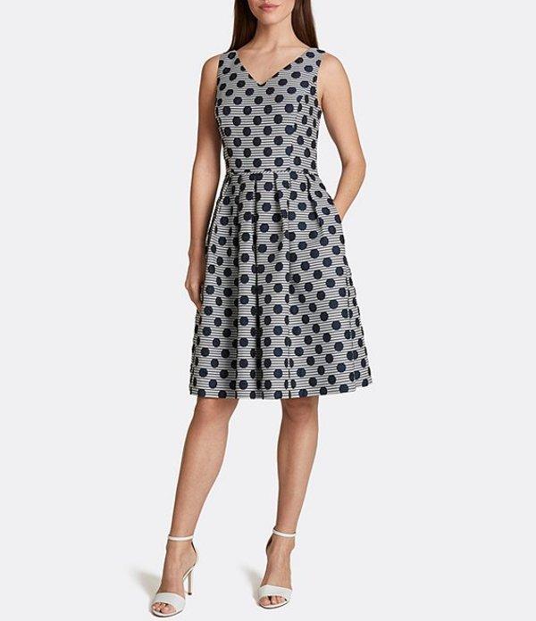 タハリエーエスエル レディース ワンピース トップス Polka Dot Metallic Jacquard Party Dress Navy/Ivory Dot