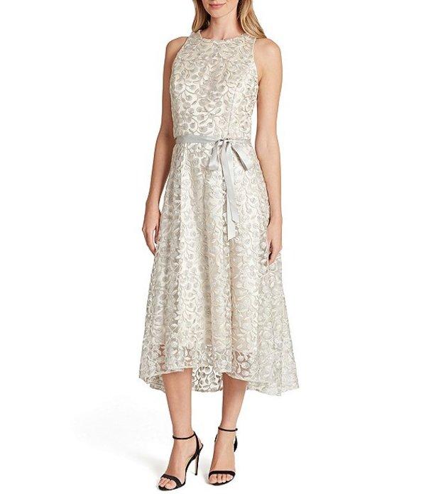タハリエーエスエル レディース ワンピース トップス Petite Size Embroidered Lace Sleeveless Hi-Low Midi Dress Taupe Silver