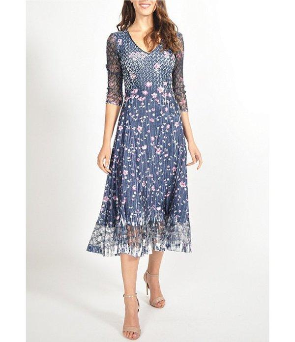 コマロフ レディース ワンピース トップス Wild Thistle Floral 3/4 Sheer Sleeve Midi Dress Wild Thistle