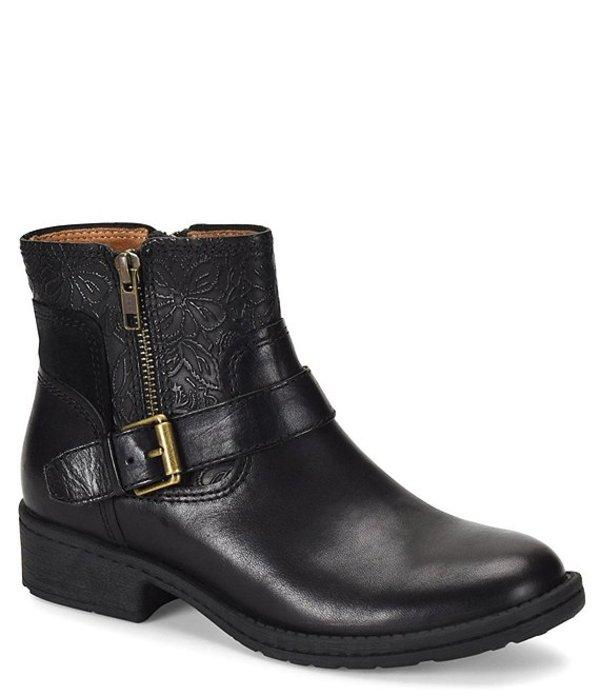 コンフォーティバ レディース ブーツ・レインブーツ シューズ Sterns Leather Floral Embossed Buckle Block Heel Bootie Black