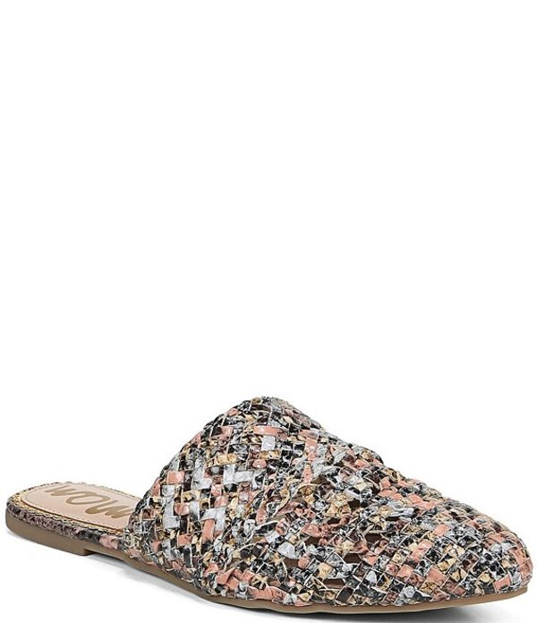 サムエデルマン レディース サンダル シューズ Natalya Snake Print Woven Leather Mules Taupe/Cameo Blush/Off White