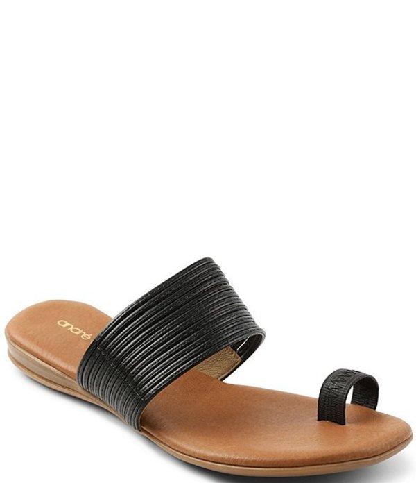 アンドレア アース レディース サンダル シューズ Vini Leather Toe Ring Sandals Black