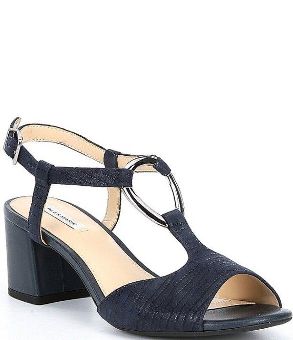 アレックスマリー レディース サンダル シューズ Darlena Strappy Block Heel T-Strap Sandals Seaport Navy