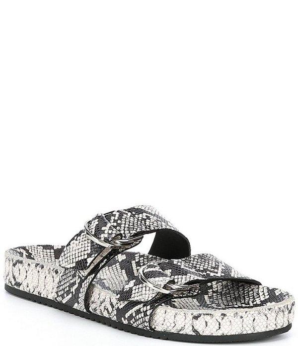 アントニオ メラーニ レディース サンダル シューズ Branson Snake Print Leather Double Buckle Sandals Black/Ecru