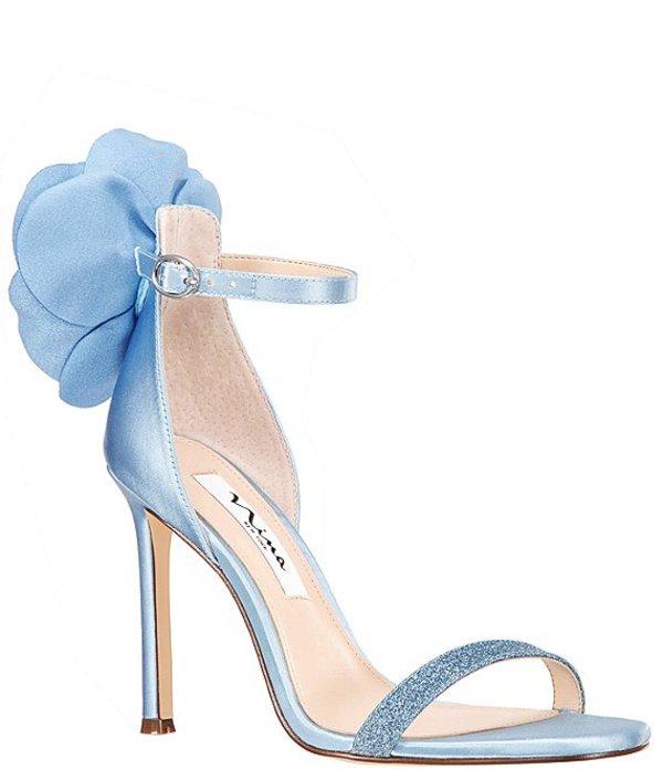 ニナ レディース サンダル シューズ Deloise Satin Flower Back Ankle Strap Dress Sandals Sky Blue Crystal Satin/Grey