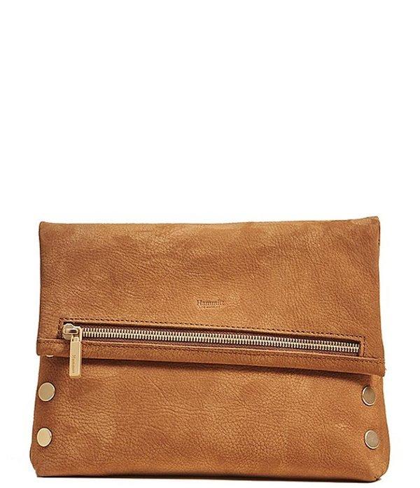 ハミット レディース ショルダーバッグ バッグ VIP Studded Leather Fold-Over Zip Flap Medium Crossbody Bag Tan Brushed Gold